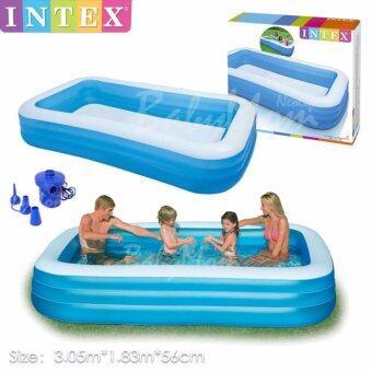 BabyMom Noelife - Swimming Pool สระว่ายน้ำเป่าลม 3.05x1.83x0.56 m สูบลมแยกชั้น พร้อมปั๊มไฟฟ้า 3 หัวสูบ