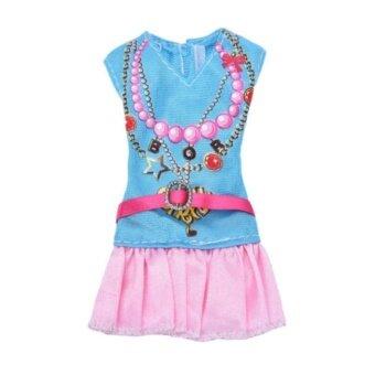 Barbie Doll Clothes dress Blue Shirt with Pink Skirt - intl