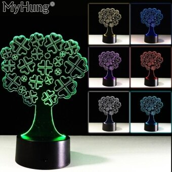 Birthday Gifts 3D Clover Tree Bedroom Table Lamp Touch ButtonsCuteLed Acrylic Vision Night Light Touch Switch Romantic LampUSBChanger - intl