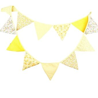 Birthday Party Holiday Decoration Triangle String Flag Yellow -intl