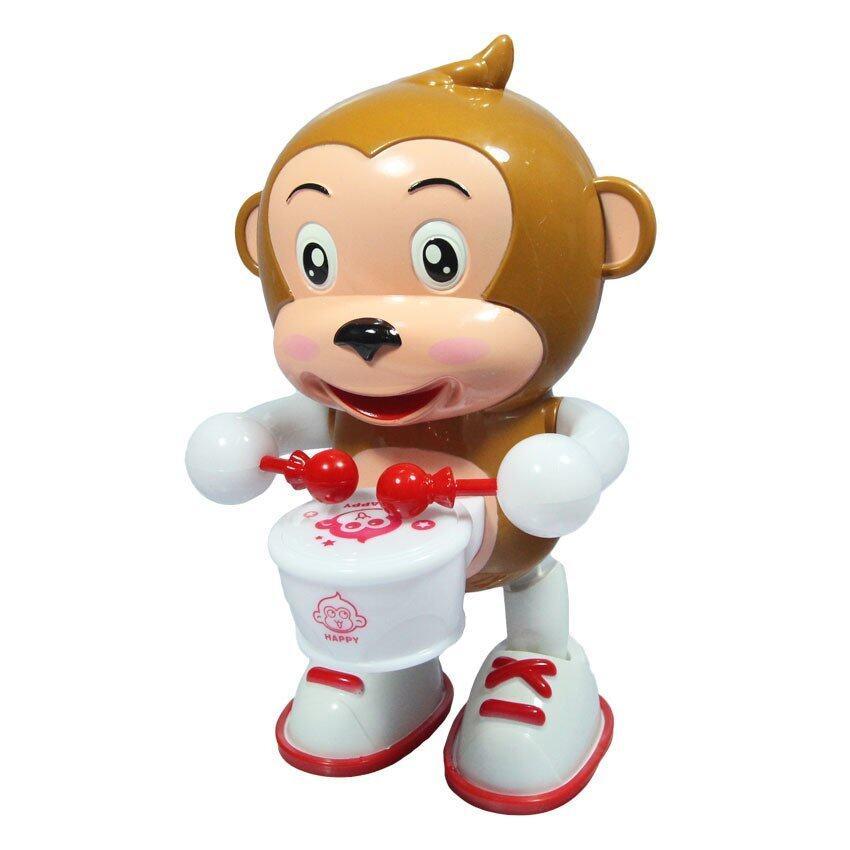 BKL TOY ของเล่น ลิง ลิงตีกลอง ใส่ถ่าน มีเสียง มีไฟรอบตัว DAB2016-2