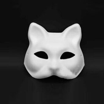Blank White Masquerade Mask Cat Venetian Cosplay Costume Party DIY Mask High Quality - intl