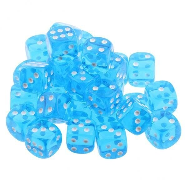 BolehDeals 100 Translucent Colored Dice Set 6-sided Dice for Game or Learning Math Blue - intl