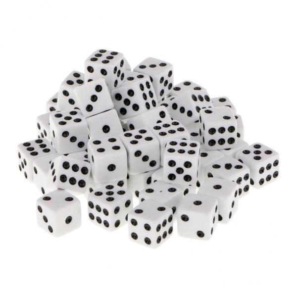 BolehDeals 12mm 50pcs Acrylic Six Sided Spot Dice Party Games Dice White Color - intl
