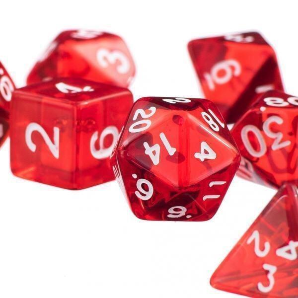 BolehDeals 7Pcs Red D4 D6 D8 D10 D12 D20 Dice Set For Dungeons and Dragons Game - intl