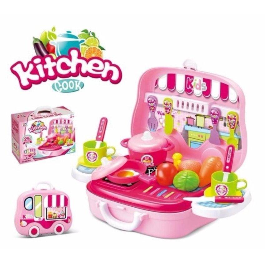 Candy Toy ครัวกระเป๋ารถเคลื่อนที่ พร้อมอุปกรณ์ 26 ชิ้น (สีชมพู)