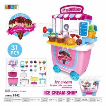 Candy Toy รถเข็นไอศครีมเเบบตัก อุปกรณ์ 31 ชิ้น สีชมพูน่ารัก