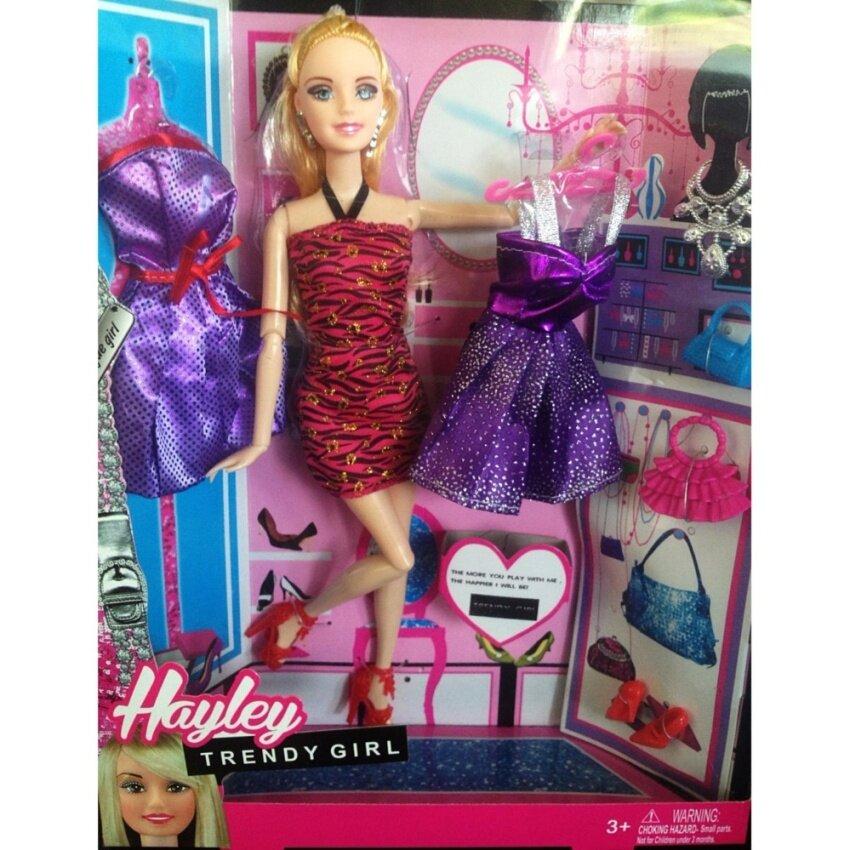 Candy Toy ตุ๊กตาสาว Hayley (เเบบใหม่) พร้อมชุดตุ๊กตา 2 ชุดพร้อมอุปกรณ์เเต่งตัวครบชุด
