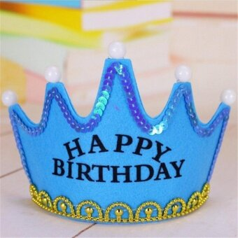 Children Adult Button Batteries Operated LED Light Happy BirthdayCrown Hat For Birthday Party Holiday Blue - intl
