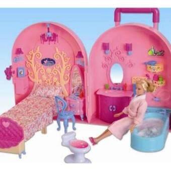 ชุดบ้านตุ๊กตากระเป๋าล้อลากพร้อมอุปกรณ์แต่งตัว(สีชมพูห้องนอนและห้องน้ำ)