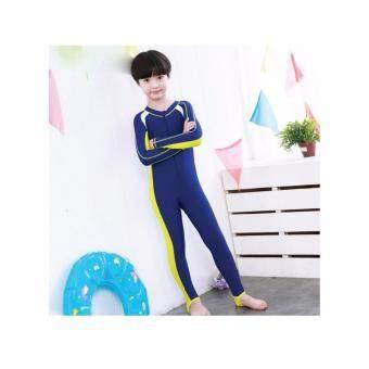 ชุดว่ายน้ำเด็ก Kids Sunscreen Elastic water suit เต็มตัว แขนยาว+ขายาว สีฟ้า - เหลือง XXXL