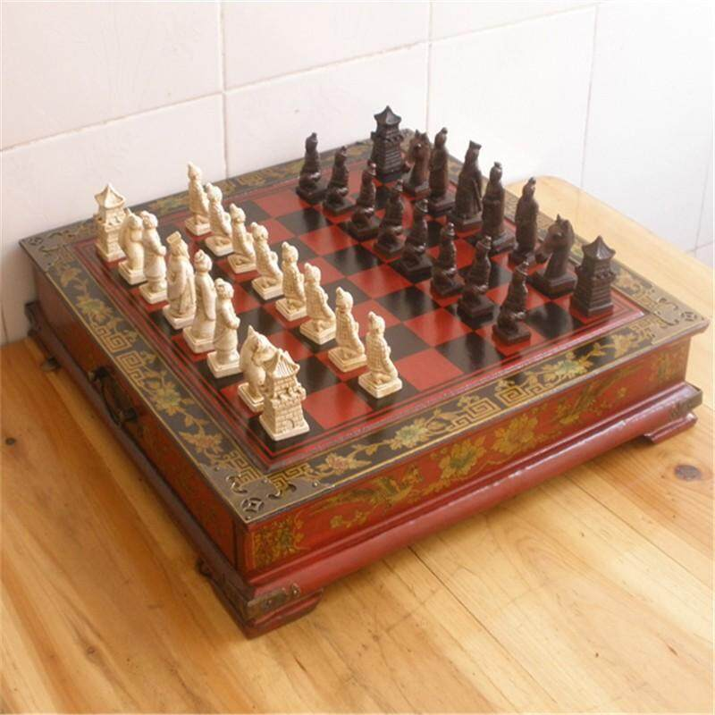 Collectibles Vintage Chinese Terracotta Warriors Style 32 Chess Set & Leather Wood Box Flower Bird Table - intl