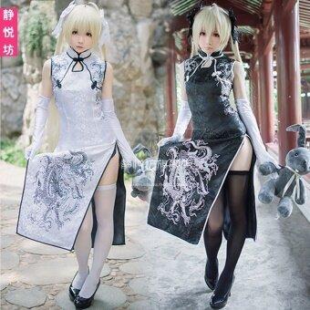 Cos สีดำฤดูใบไม้ผลิสีขาว cheongsam