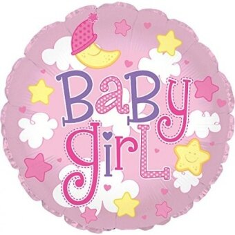 Creative Converting CTI Mylar Balloons  Baby Girl Clouds  24  Pink pack of 5 - intl