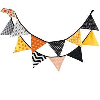 Creative Festival Party Cotton Decorative Triangle Flag Orange -intl