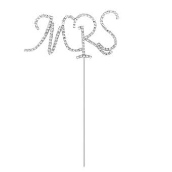 Crystal Rhinestone Silver Plated Number Cake Topper MRS - intl