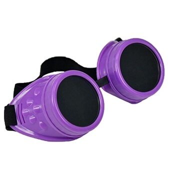 Cyber Glasses Vintage Steampunk Welding Goth Cosplay Goggles(Purple) - intl