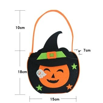 Decoration Pumpkin Bag Candy Kids Halloween Party Supplies Handle Trick Or Treat For Funny - intl
