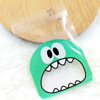 VORSTEK 100PCS Little Monster CandyCookie Self-adhesivePlastic Bag For Biscuits Snack Baking Package Supplies – Light BlueGreen – intl