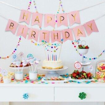 Diotem Baby Child Shiny Gold Paper Birthday HAPPY Birthday LetterBanner Pink - intl