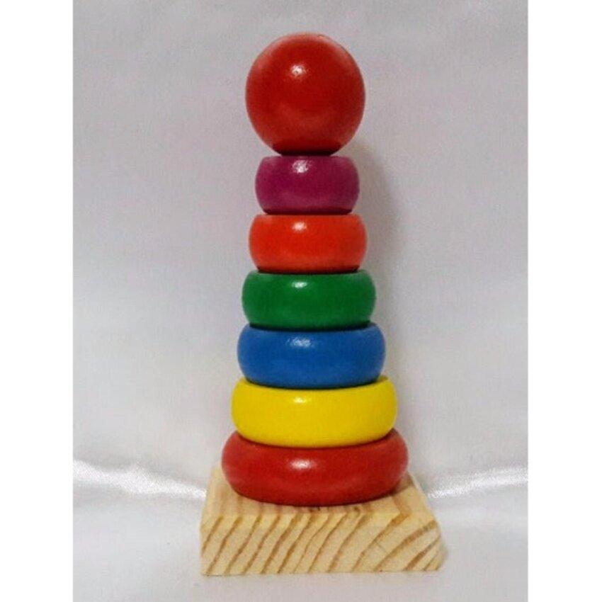 DM toys ของเล่นไม้ เจดีย์สวมหลัก 6 ชั้น