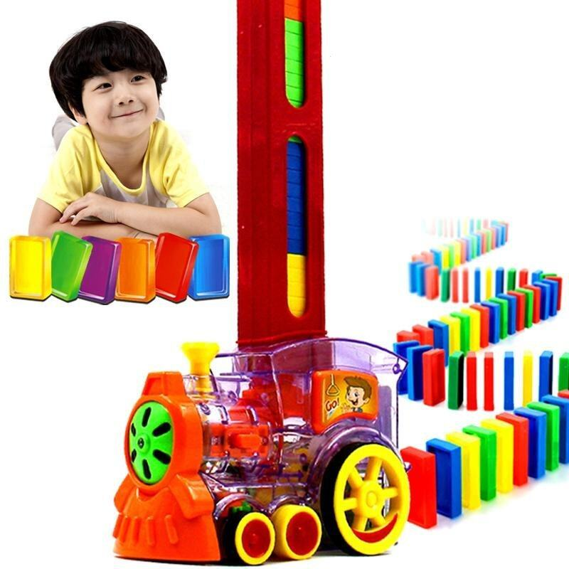 Domino Automatic Licensing Dominoes Building Blocks Electric Cars Trains Domina Blocks Electric Cars Children Educational Toys - intl