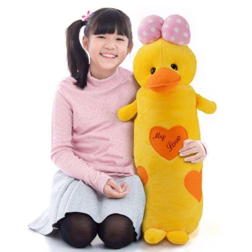 ตุ๊กตาหมอนข้างเป็ด Duck is My Love โบว์ชมพูลายจุดสีขาว