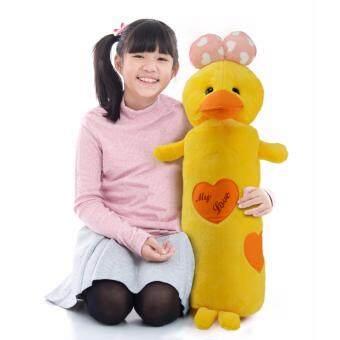 ตุ๊กตาหมอนข้างเป็ดDuck is My Love โบว์ชมพูอ่อนลายรูปหัวใจขาว