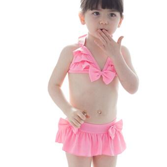 DUDUMUMU ชุดว่ายน้ำสำหรับเด็ก สีชมพู(Pink) -แถมหมวก