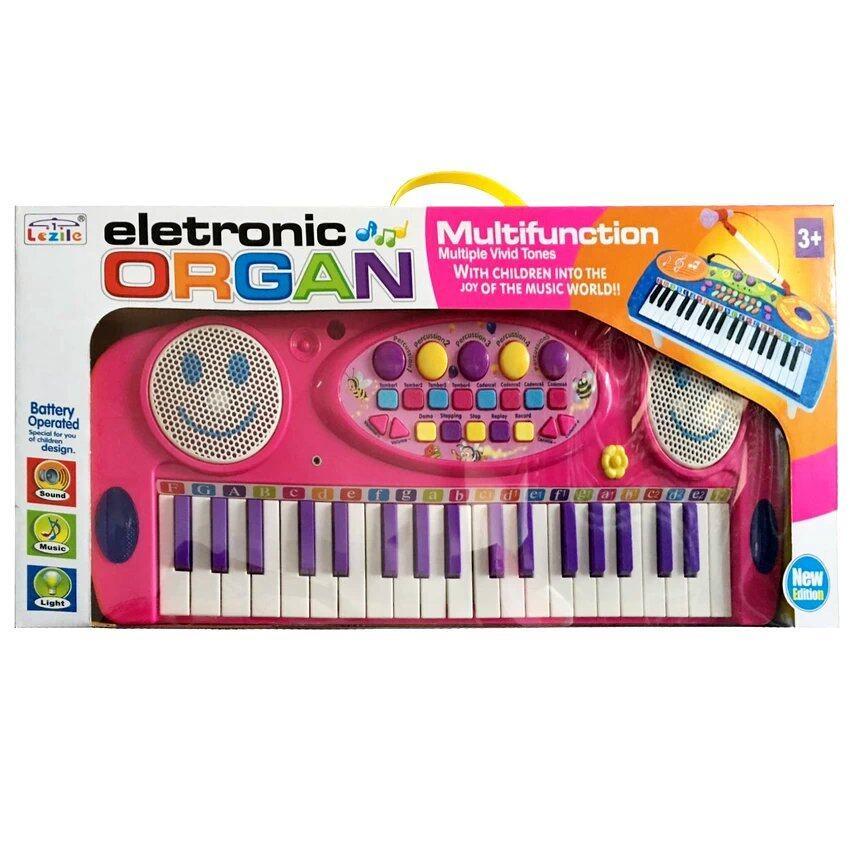 Electronic Organ ของเล่นคีย์บอร์ดพร้อมไมโครโฟน สำหรับเด็ก (สีชมพู)