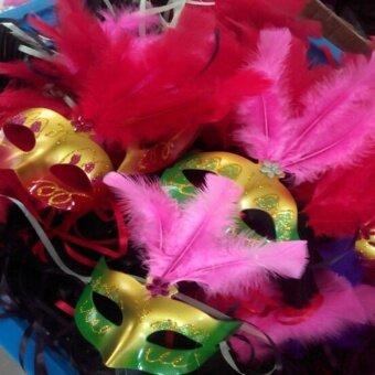 Fang Fang Women Venetian Fiber Mask Masquerade Fancy Dress PartyPrincess Feather Masks - Random color - intl