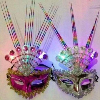 Fang Fang Women Venetian LED Fiber Mask Masquerade Fancy DressParty Princess Feather Masks - Random color - intl