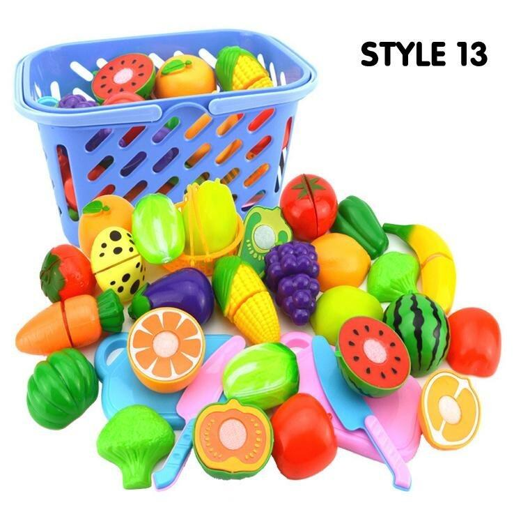 Fantastic Flower Kitchen Toy Baby Plastic Colorful Cut Fruit Pretend Play House Educational Toys-Vegetables &Fruits 23PCs/set - intl