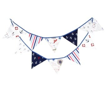 Fashion Cool Trend Pirate Theme Birthday Decoration Triangle Flag Blue - intl
