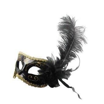 Feather Flower Mask Masquerade Ball Party Eye Maskvenetian Eye Mask Black - intl