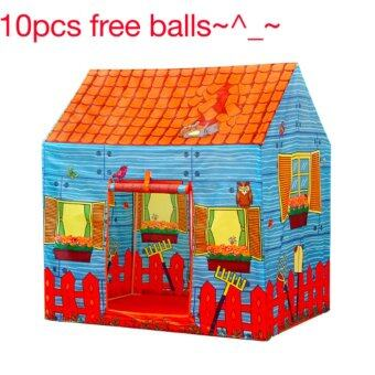 Harga FREE 10 Balls + Kids Outdoor Play Tent Portable Ball Pit Pool TentToys Farm House Pattern - intl
