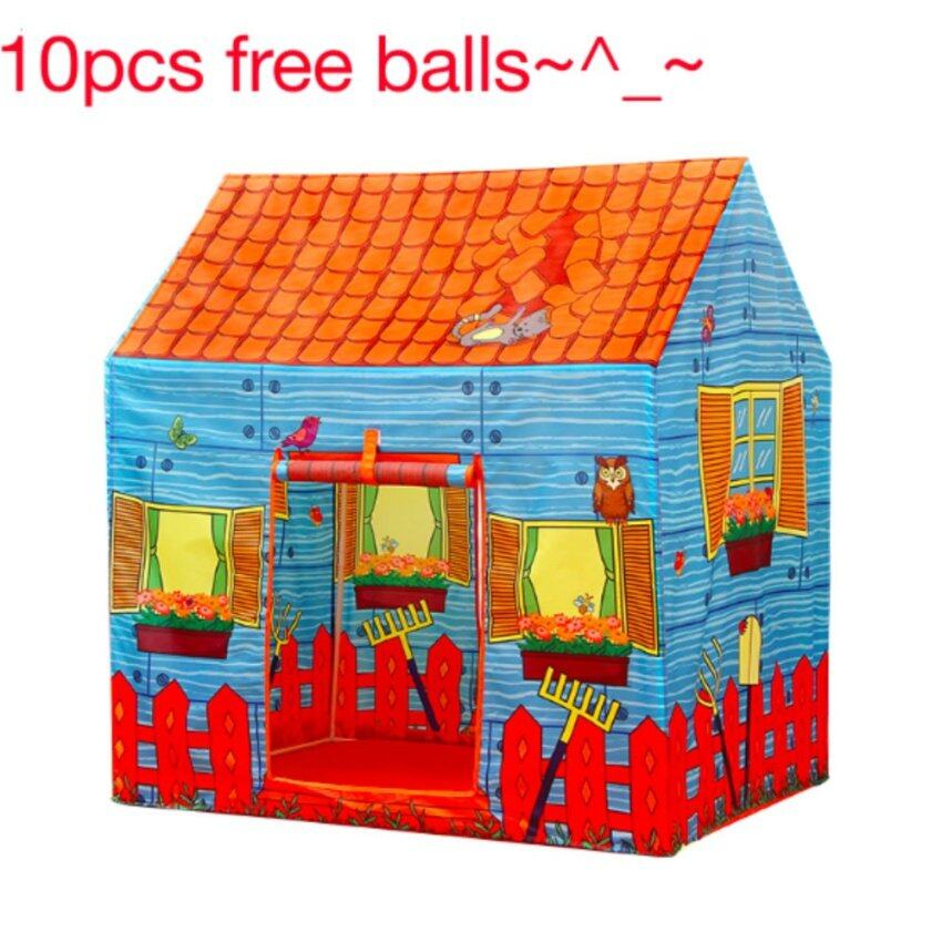 FREE 10 Balls + Kids Outdoor Play Tent Portable Ball Pit Pool Tent Toys Farm House Pattern - intl