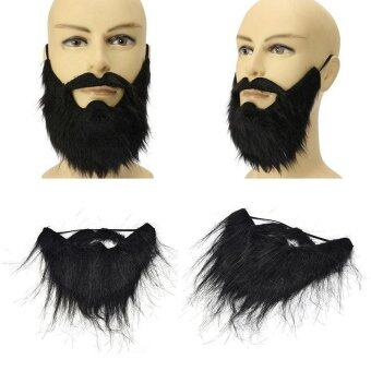 Funny Costume Party Male Man Halloween Beard Facial Hair DisguiseGame Black Mustache - intl