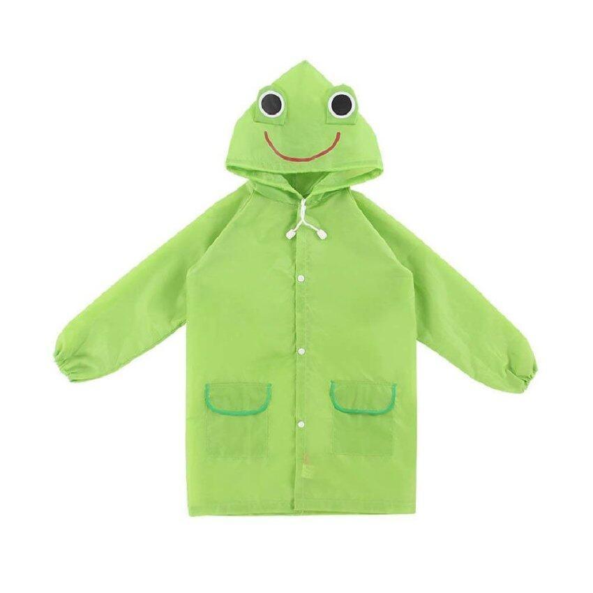 เสื้อกันฝนเด็ก ลายกบfunny rain coatอายุ3ขวบขึ้นไป-สีเขียว