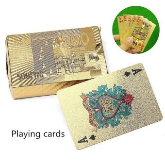GETEK Stylish Waterproof 24K Gold Foil Plated Cover Poker 54Playing Cards Table Games - intl