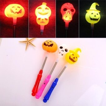 Ghost Head Pumpkin Stick Wand Flashing Toys Halloween BatteriedChildren - intl