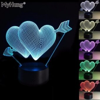 Gift Ideas For Girlfriend Creative 3D Illusion Lamp Love LEDNightLights Double Heart Romantic Lighting Touch SwitchColorfulAtmosphere Lamp Novelty Lighting - intl