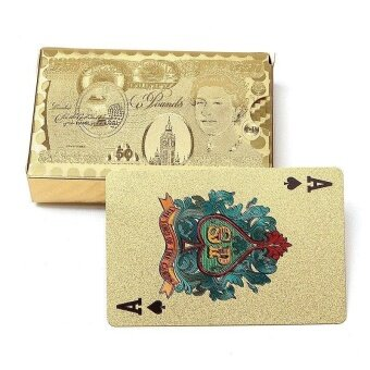 Golden Playing Cards Texas Hold'em Poker Gold Foil Plated PokerCard - intl