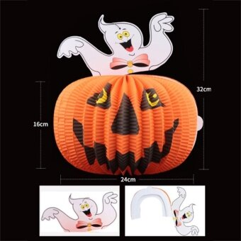 Halloween Decor Pumpkin Paper Lantern Lights Lamp Halloween Supplies Scary - intl