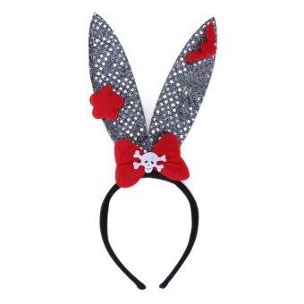 Halloween Head Decor Rabbit Ear Hair Band Hair Clasp(Red) - intl