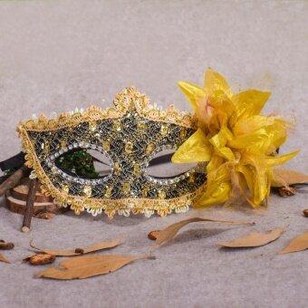 Halloween Rhinestone Feather Lace Mask Festival Celebration FancyDress Venetian - intl