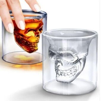 Halloween Skull Cup Wine Head Glass Fun Creative Whisky Drinkware New - intl