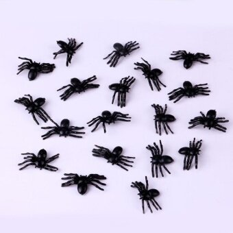 Halloween you must have it 100X NEW Plastic Black Spider TrickJoking Toy Party Halloween Decor Decor - intl