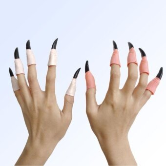 Halloween you must have it 10Pcs Fake Fingers Witch Nail Cover CaseShell Halloween Prop Holiday Party - intl