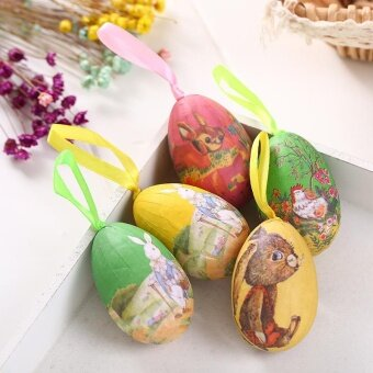 Halloween you must have it Colorful 6Pcs Foam Easter Eggs HangingCrafts Ornaments Decor Hot Sale - intl